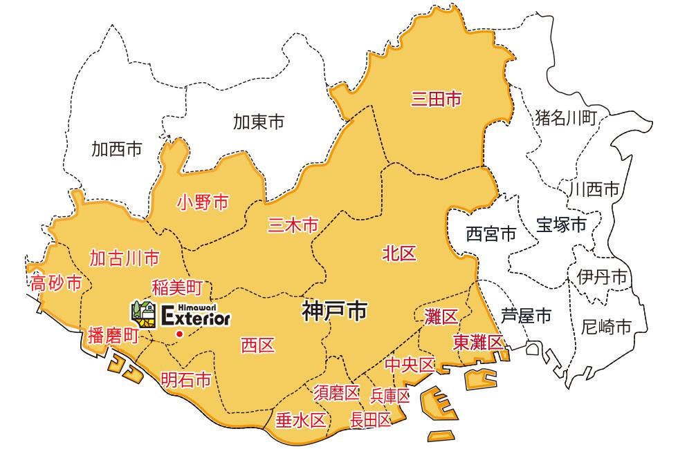 施工対応エリアの地図