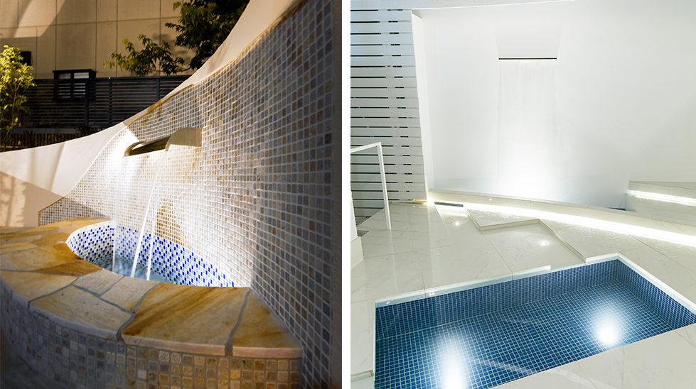 壁泉とライティング