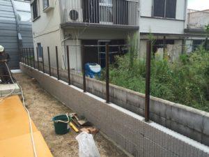 フェンス柱工事