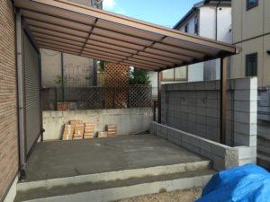 【神戸市西区】化粧壁のおしゃれな外構へ【デッキ工事・左官工事】