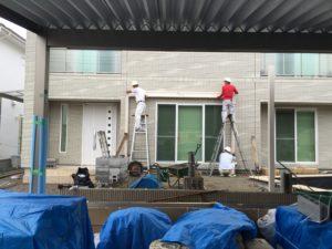 兵庫県姫路市にてデジョユプールプール施工に伴う新築外構を行なっています
