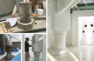 宮殿の様な柱は職人の匠の技で造形されています