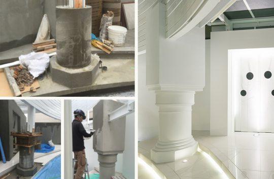 職人が匠の技で造形した柱はまるで神殿のよう