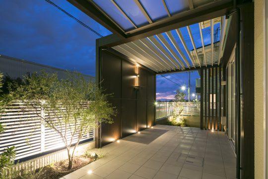 神戸市垂水区のライティングが素敵なお庭
