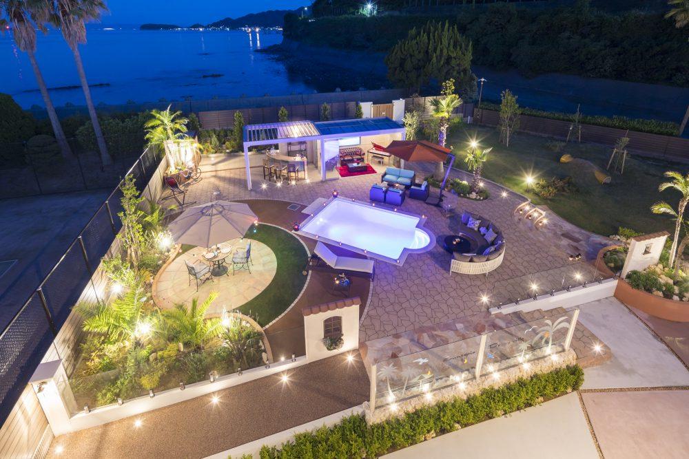 淡路島 プール付き別荘の夜景